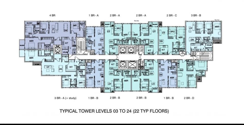 Mặt bằng căn hộ Mozac Thảo Điền tầng 3-24
