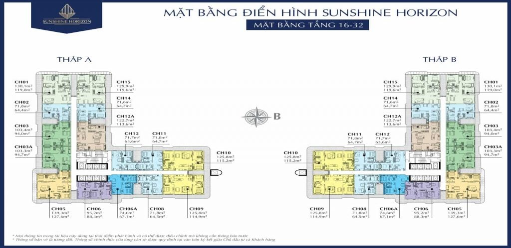 Mặt bằng căn hộ Sunshine Horizon tầng 16-32