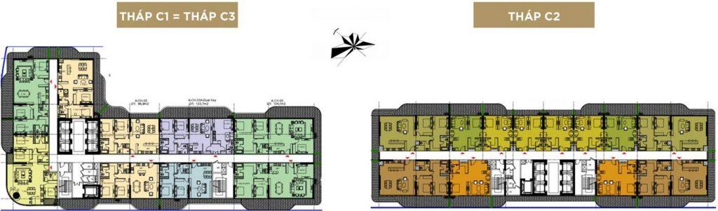 Mặt bằng tầng 10-12; 14-17: căn hộ