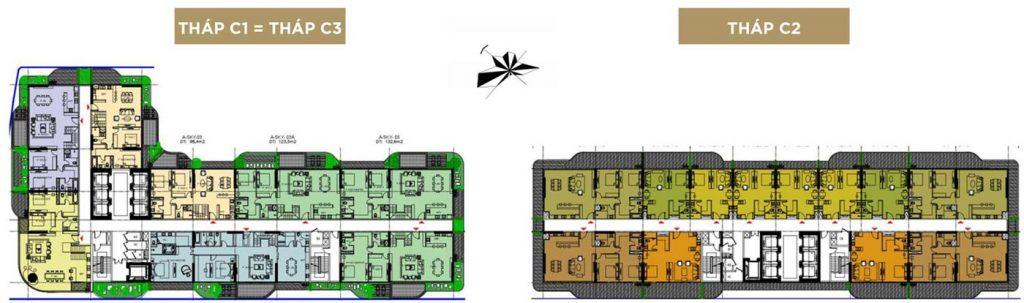Mặt bằng tầng 18, 20, 22: Sky Villas (Tầng 1)