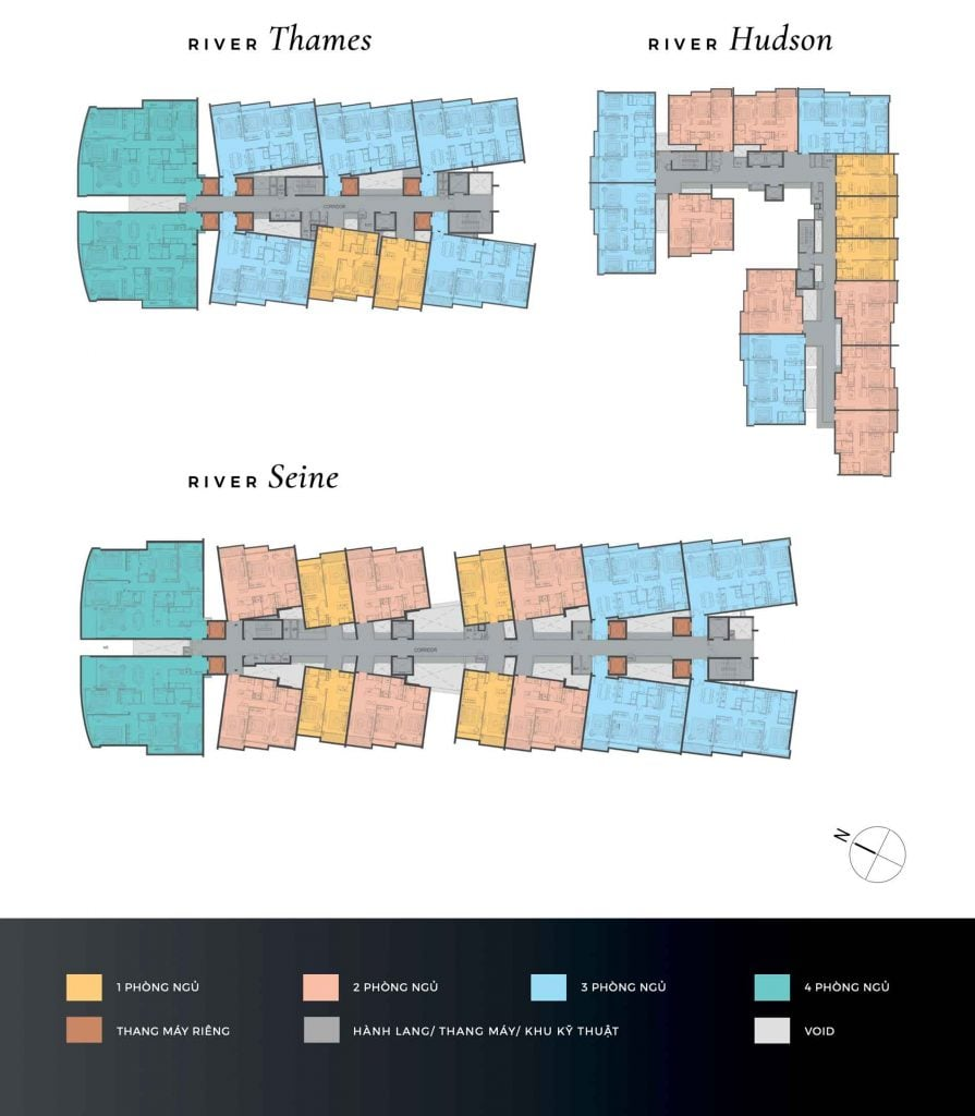 Mặt bằng căn hộ The River Thủ Thiêm do DP Architects đến từ Singapore thiết kế