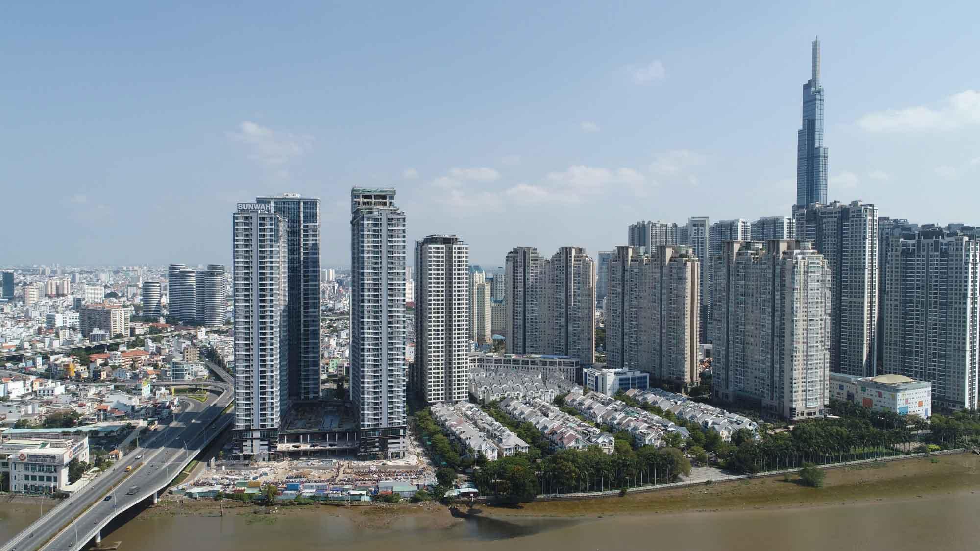 Hình thực tế khu căn hộ Sunwah Pearl tháng 6-2020