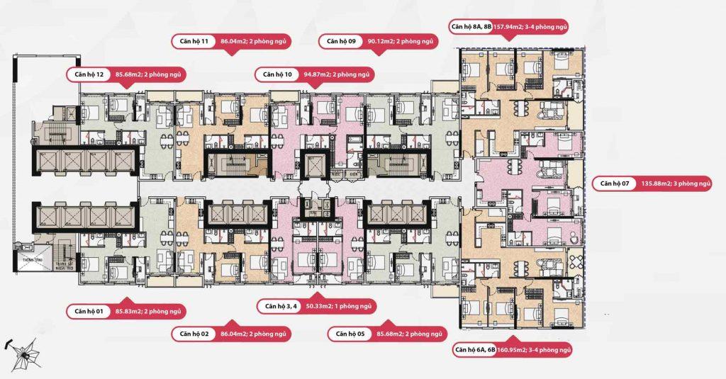 Mặt bằng căn hộ Opal Saigon Pearl có 12 căn hộ loại 1234 phòng ngủ