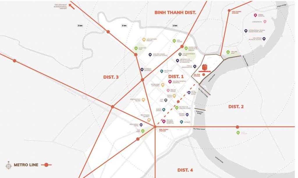 Vị trí dự án nằm ở trung tâm Quận 1