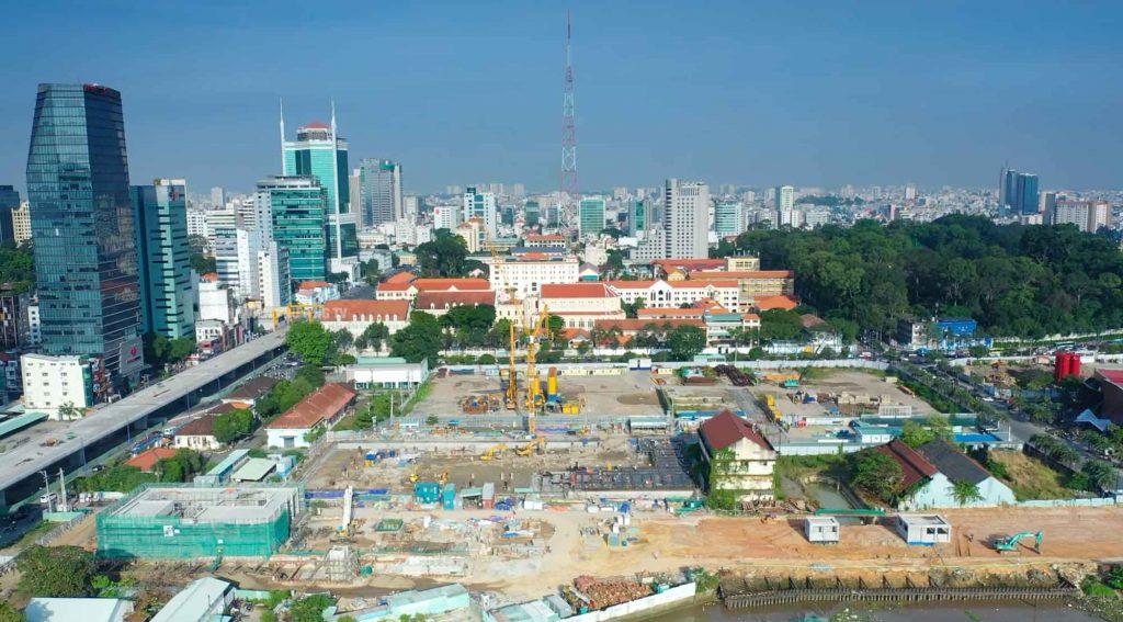 Hình chụp tổng thể công trường đang thi công của dự án T1-2021