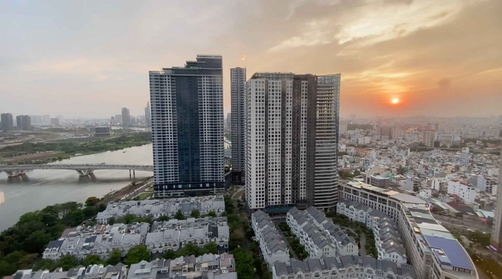Hình tòa nhà Sunwah Pearl và Opal Saigon Pearl